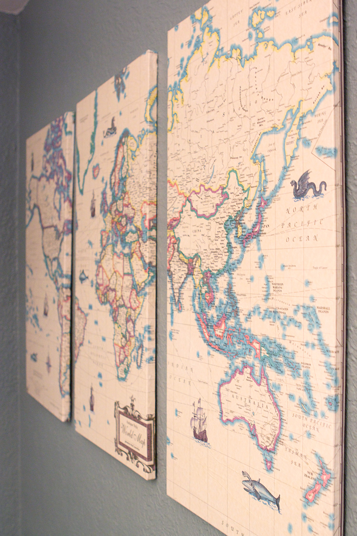 Where in the world ivy in the bay this dining room wall piece was made out of 3 painting canvases a large map poster from borders rip and a whole lotta messy mod podge gumiabroncs Gallery